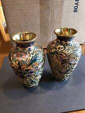 Pair Of Exquisite Matching Cloisonné Vases