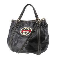 GUCCI GG Logos Web Stripe Shoulder Hand Bag Black Vinyl Leather Italy Auth RR748