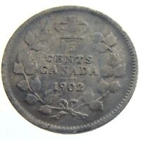 1902 Canada 5 Cents Small Silver Circulated Edward VII Five Cents Coin P195