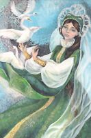 The frog Princess swans folk fairy tale by Kovaleva Russian modern postcard