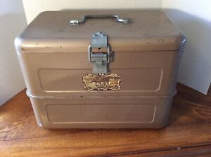 RARE Vintage Hemp & Co. Little Brown Chest Antique Cooler Ice Box w/pick + tray