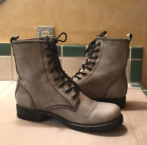 FRYE WOMENS' VERONICA GREY LACE-UP BOOTS SZ 10 COMBAT BOOTS