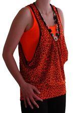 Womens Animal Leopard Print Scoop Neck Sleeveless Beaded Ladies Bouse Tank Top