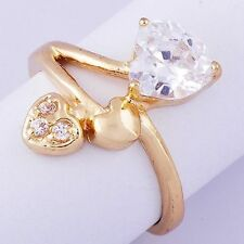 Love Attractive Womens Ring Heart Crystal 14k Gold plated Size 5 Free Shipping