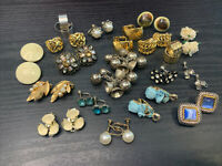 Wearable Vintage Clip Earring Lot Of 19 Fancy Assorted Gold Silver Pearl Crystal