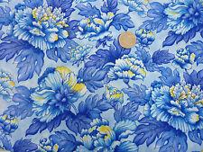 Quilting Fabric Fleurette Large Blue Peony Flowers Fat Quarters 100% Cotton