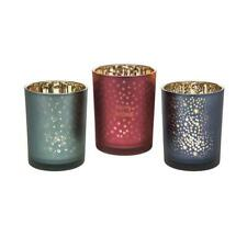 Christmas Glow Glass Candle Holders Trio Red Green and Blue