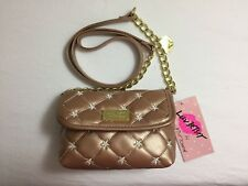 NEW Betsey Johnson Women's Ivory Star Quilted Metallic Crossbody, Rose Gold