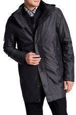 $650 VINCE Melang Jacket COAT WEATHER RESISTANT TWILL DETACHABLE HOOD  H BLACK S