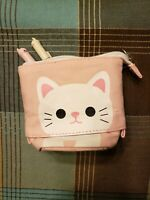 **NEW** Flexible Kawaii Cute PINK Cat Pencil Pouch Makeup Bag Korean School Bag