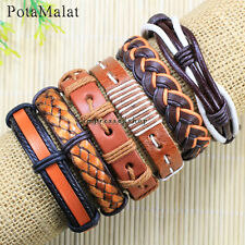 PotaMalat 6pcs Wholesale Handmade genuine charm leather wrap bracelets -D103