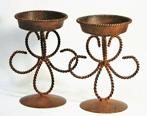 Candle Holders Pillar Metal Ornate Scroll Design Brown Patina Rustic 2