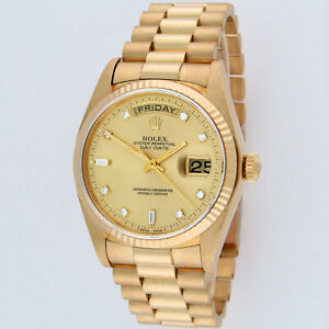 Rolex President Day-Date 18K Yellow Gold 18038 Factory Diamond Dial Mens Watch
