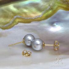 TAHITI OPTIK ● 8mm ●  SC Perlen grau + Ohrstecker ygf 14k Gold 585