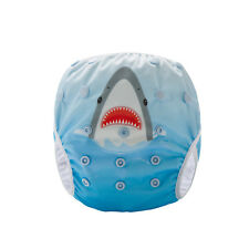 Swim Cloth Nappy - washable reuseable swimmer adjustable baby Cool Shark
