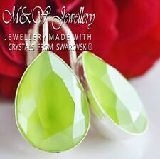 925 SILVER EARRINGS PEAR FANCY STONE 14MM LIME CRYSTALS FROM SWAROVSKI®