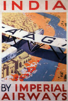 India By Imperial Airways Vintage Travel Art Print Poster 12x18