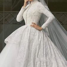 Exquisite Muslim Wedding Dresses Ball Gown With Long Sleeves Plus Size