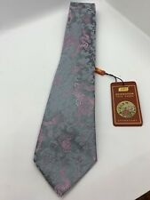 Nanjing Imperial Brocade Men's Tie Dragons New With Tag Pearl Blue Pink Gift
