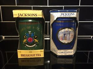 Vintage Jacksons Of Piccadilly 2 Tea Caddies FULL Collectable In Original Boxes