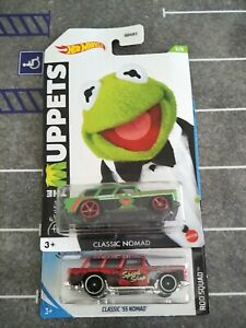 2 X HOT WHEELS LOT CHEVY CLASSIC 55 NOMAD RED GREEN KERMIT MUPPETS VHTF 1/64