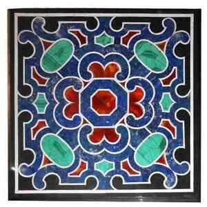 "36"" Marble Table Top Semi Precious Stones Lapis Inlay Work"
