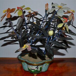 Antique Chinese Jade Hardstone Carnelian Plant Tree Cloisonne Pot