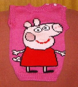 PEPPA PIG .VEST NEW SIZE 2-  HAND KNITTED  100% ACRYLIC
