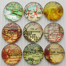 20pcs Round Clear Cabochons Flatbacks Resin Dome Cameos 30mm Map