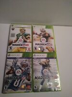 Madden Xbox 360 Lot of 4 Games, Madden 09, 11, 13, 15 TESTED & WORKING
