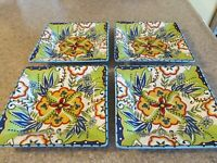 "4 - ESPANA BOCCA BLUE Tabletops Unlimited Square Salad Plates 8"" Earthenware"