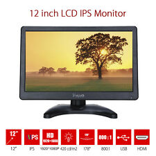 """12"""" IPS LCD Video HDMI Monitor HD VGA AV Color Display For PC Indoor Security"""