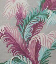 Vintage Plume Palm Leaf Barkcloth Fabric ~