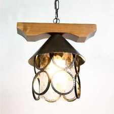 Lanterna LAMPADARIO con catena in legno e ferro battuto