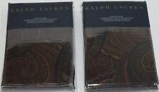 2 Ralph Lauren Frazier Olive European Euro Pillow Sham Pair Black Brown Burgundy