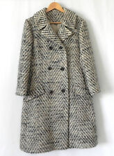 Vtg Kingsley Coat Double Breasted Woven Wool Pockets Size M
