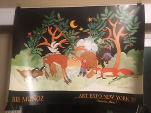 "Vintage Original Rie Muñoz Art Expo New York '83 ""Peaceable Alaska"" Poster"