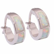 Hot Sell White Fire Opal Women Jewelry Gemstone Silver Hoop Earrings 13mm OH2661