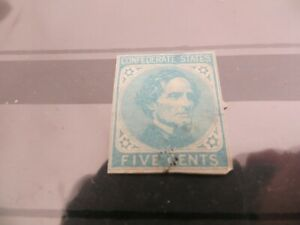 Confederate States #6, 5c Jefferson Davis, imperf