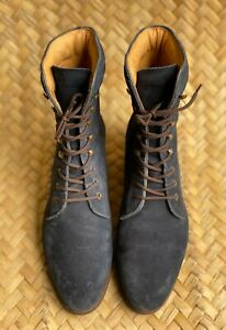 MEERMIN MALLORCA Women's Blue Suede Calf Boots Size 5.5 UK   8.5 US   38.5 EU