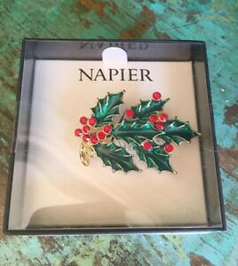 "New Napier Holly Pin Brooch Berries Gold Tone Enamel Christmas Gift 2"" w/ Box"