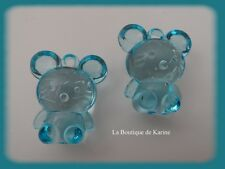 "LOT DE 2 BRELOQUES FORME CHAT BLEU TYPE ""HELLO KITTY"" CREATION BIJOUX"