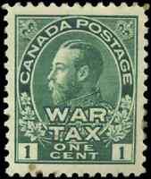 Canada #MR1 mint VF OG H DG 1915 King George V 1c green Admiral War Tax CV$40.00