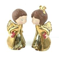 Vintage Kissing Angels Ceramic Hollow Gold Iridescent Christmas Decor Xmas 8in