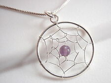 Purple Amethyst Dream Catcher Necklace 925 Sterling Silver Corona Sun Jewelry