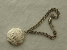 Vintage Napier Silvertone Double Link Chain Bracelet with Engraved Disc Charm