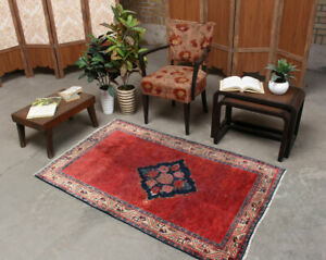 3x5 Hand Knotted Oriental Vintage Wool Traditional Medallion Red Area Rug