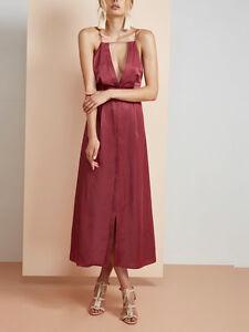 Finders Keepers Kahlo Merlot Pink red Maxi Keyhole Strap Satin Plunge Dress