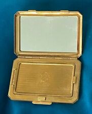 Beautiful Vintage Ladies Powder Compact with White Enamel  - STRATTON
