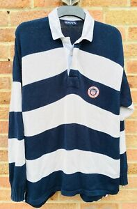 GANT Long Sleeve Knitted Polo Jumper Sweater L Large XL Navy Blue White Striped